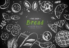 Vektorbäckereiweinlese-Hintergrunddesign Handgezogene Brot-Skizzenillustration mit Weizen, Mehl auf dunklem Hintergrund vektor abbildung