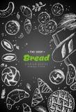 Vektorbäckereiweinlese-Hintergrunddesign Handgezogene Brot-Skizzenillustration mit Weizen, Mehl auf dunklem Hintergrund stock abbildung