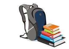 Vektorbücher und -Schultasche stock abbildung