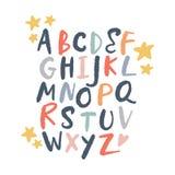 Vektorbürstenalphabet Beschriften, lustige Buchstaben, Kindertagesstättenart lizenzfreie abbildung