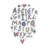 Vektorbürstenalphabet Beschriften, lustige Buchstaben, Kindertagesstättenart stock abbildung