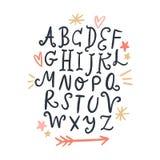 Vektorbürstenalphabet Beschriften, lustige Buchstaben, Weinleseart stock abbildung