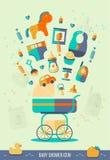 Vektorbabypartyillustration Einladungsschablone, Parteithema, Netzkartendesign Ikonen eingestellt Flache Art Lizenzfreies Stockfoto