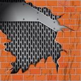 Vektorbacksteinmauersprünge, metallischer Grillhintergrund vektor abbildung