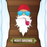 Vektorbad vaggar n-rulle dj Santa Claus med att röka röret, det skraj skägget och att hälsa calligraphic text på gammal tappning stock illustrationer