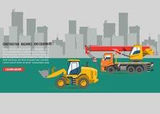 Vektorbagger für Bau Gräber oder Planierraupe, die mit Schaufel- und Aushöhlungskranmaschinerieindustrie ausgraben lizenzfreie abbildung