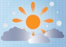 Vektorbakgrund av sol och clouds.EPS 10 Royaltyfri Foto