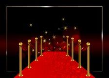 Vektorbakgrund för röd matta Hollywood lyxig och elegant för röd matta händelse i perspektivillustration Matta för röd färg för V vektor illustrationer