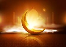 Vektorbakgrund för Ramadanferie med moln, moské, cresc Royaltyfri Fotografi