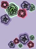 Vektorbakgrund med abstrakta blommor på grå färger Mall f?r presentation, baner, reklamblad, inbjudan, form, brevpapper vektor illustrationer