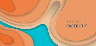 Vektorbakgrund med blått och orange färgpapper klippte vågformer abstrakt pappers- stil för konst 3D, designorientering vektor illustrationer