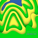 Vektorbakgrund med brasilianska flaggafärger skyler över brister klippta former royaltyfri illustrationer