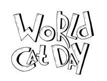 Vektorbakgrund med dag för ordvärldskatt May att användas som ett förälskelsekort Royaltyfri Bild