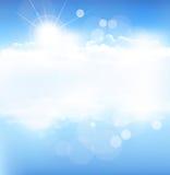 Vektorbakgrund med den blåa skyen Royaltyfria Bilder
