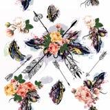 Vektorbakgrund med den drog handen befjädrar i inristad stam- st Royaltyfria Bilder