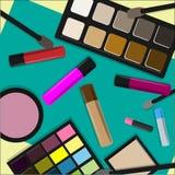 Vektorbakgrund med den kosmetiska produktsamlingen vektor illustrationer