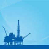 Vektorbakgrund med den olje- plattformen royaltyfri illustrationer