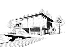 Vektorbakgrund med det moderna huset med simning  Royaltyfri Bild