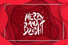 Vektorbakgrund med djupt - för papperssnitt för röd färg former abstrakt glat 3D och ljust, jul som märker, designorientering royaltyfri illustrationer