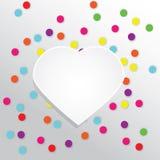 Vektorbakgrund med färgrik rund konfetti- och pappershjärta stock illustrationer