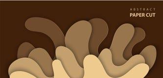 Vektorbakgrund med färgstänkvattenpapper klippte former i brun färg abstrakt pappers- stil för konst 3D, designorientering för an stock illustrationer