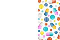 Vektorbakgrund med farmaceutiska beståndsdelar förgiftar pills stock illustrationer