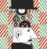 Vektorbakgrund med grafiska män och klockor clockmaker begreppsvektorillustration Moderna teknologiska lösningar mot som kroken f Royaltyfria Foton