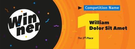 Vektorbakgrund med guld- nummer 1, det 1st stället för text, utrymme för vinnarenamn och konkurrenstitel royaltyfri illustrationer