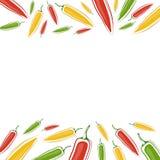 Vektorbakgrund med jalapenos på en vit bakgrund Utrymme fo Stock Illustrationer