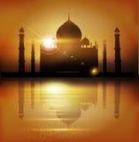 Vektorbakgrund med moskéer och minaret till ferien Mubar stock illustrationer