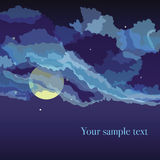 Vektorbakgrund med mulen himmel och natt Fotografering för Bildbyråer
