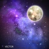 Vektorbakgrund med natthimmel och stjärnor illustration av yttre rymd och Vintergatan Arkivfoton