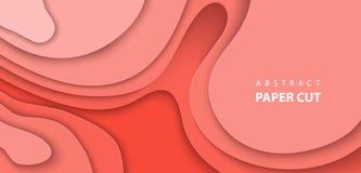 Vektorbakgrund med pastellfärgade former för snitt för papper för koralltrendfärg abstrakt pappers- stil för konst 3D, designorie stock illustrationer