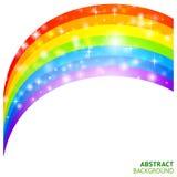 Vektorbakgrund med regnbågen och lycklig växt av släkten Trifolium Arkivfoto