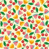 Vektorbakgrund med sammansättning bär frukt den körsbärsröda citronvattenmelon stock illustrationer