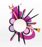 Vektorbakgrund med skönhetsmedel och sminkobjekt och ställe f vektor illustrationer