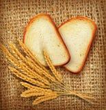 Vektorbakgrund med skivor av skivat bröd (släntra) som ligger på th vektor illustrationer