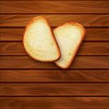 Vektorbakgrund med skivor av skivat bröd (släntra) som ligger på th royaltyfri illustrationer
