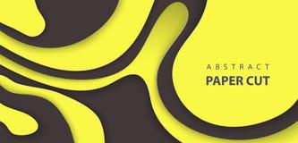 Vektorbakgrund med svarta och gula former för färgpapperssnitt abstrakt pappers- stil för konst 3D, designorientering för affär vektor illustrationer