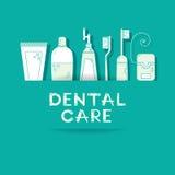 Vektorbakgrund med tandvårdsymboler Arkivfoton