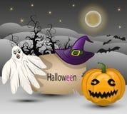 Vektorbakgrund till allhelgonaaftonen med pumpa, spöken, hatten och en måne Arkivfoton