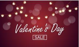 Vektorbakgrund till dagen av den heliga valentin eller Februari 14, vännerna för dag allra Girland med lampor i formen av hjärta stock illustrationer