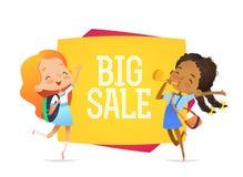 Vektorbakgrundshorisontalbaner med tecknad filmflickor Ljus sommardesign för vår två ungar blir stor försäljning för near baner stock illustrationer
