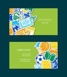 Vektorbaksida till illustrationen för mall för kort för skolabrevpapperaffär vektor illustrationer