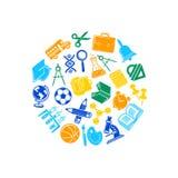 Vektorbaksida till skolabrevpapper i cirkelformillustration vektor illustrationer