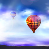 Vektorballon im Himmel Lizenzfreies Stockfoto