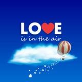 Vektorballong som flyger över himlen vektor illustrationer