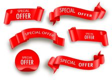 Vektorband för specialt erbjudande röd scroll Banerförsäljningsetikett stock illustrationer