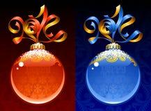 Vektorband i formen av 2014 och den glass bollen. Royaltyfria Foton
