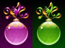 Vektorband i formen av 2014 och den glass bollen. Fotografering för Bildbyråer